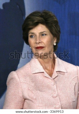 Laura Bush at the United Nations in New York - stock photo