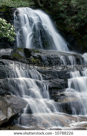 Laurel Falls, Great Smoky Mountains National Park, Tennessee in Spring Vertical - stock photo