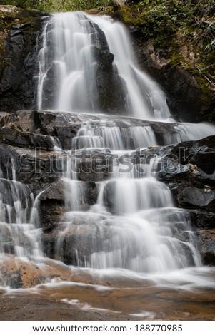 Laurel Falls near the Little River - stock photo
