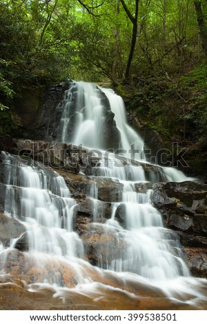 Laurel Falls, one of the picturesque waterfalls in the Great Smoky Mountain National Park, at Springtime.