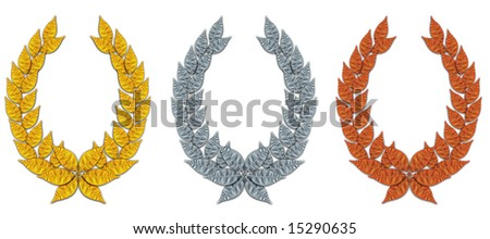Laurel in gold, silver and bronze. - stock photo