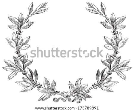 Laurel wreath. Decorative element with copy space at engraving style.   - stock photo