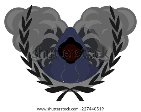 Laurel wreath, street gang logo. Danger men in hoodie standing in front of smoke clouds. Raster illustration isolated on white - stock photo