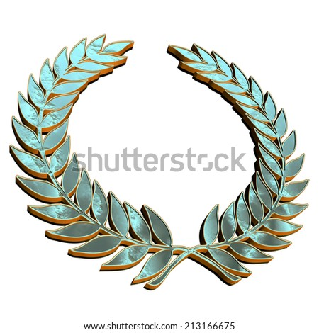 Laurel wreath symbol with reflective material texture isolated on white