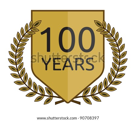 Laurel wreath 100 years. Vector format is also available in my gallery - stock photo