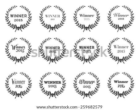 Laurel Wreaths Set of Typographic Design for your wins - stock photo