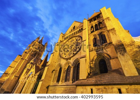Lausanne Cathedral at night. Lausanne, Vaud, Switzerland. - stock photo