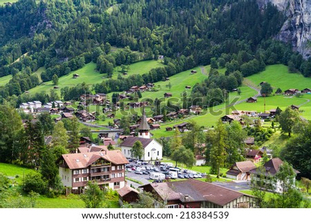 Lauterbrunnen Valley in Switzerland - stock photo