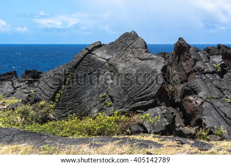 Lava along the Chain of Craters Road in Big Island, Hawaii  - stock photo