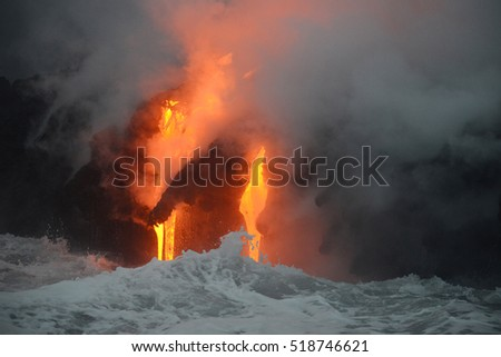 Lava entry to ocean at Big Island, Hawaii