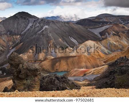 lava field at Landmannalaugar, Iceland - stock photo