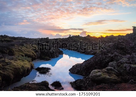 Lava fields and geothermal waters of Iceland, - stock photo