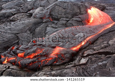 Lava flow of Kilauea volcano - stock photo