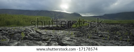 Lava flow of the volcano of Reunion Island - stock photo