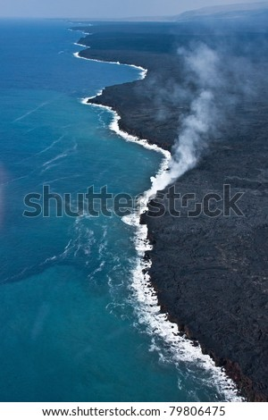 Lava Flowing Into Ocean - stock photo