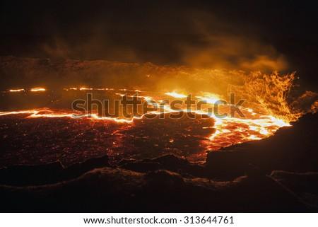 Lava lake, Crater, Erta Ale active volcano, Ethiopia, Africa - stock photo