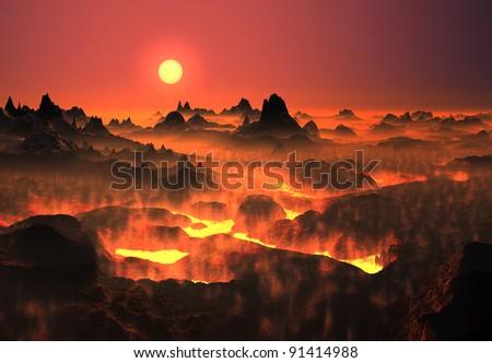 Lava Landscape, fantasy landscape, alien planet - stock photo
