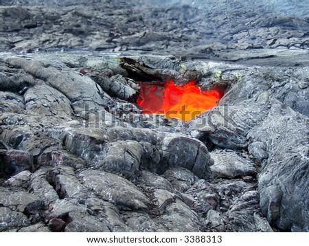 Lava skylight in Hawaii Volcanoes National Park - stock photo