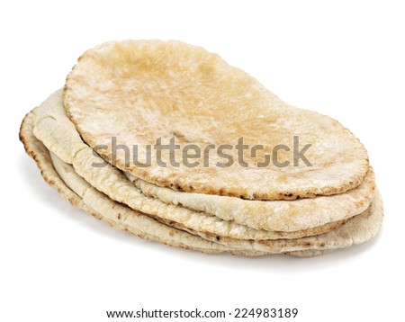 Lavash, tortilla wrap bread on a white background - stock photo