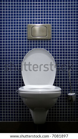 Lavatory pan with the push button and toilet brush on blue tile background - stock photo