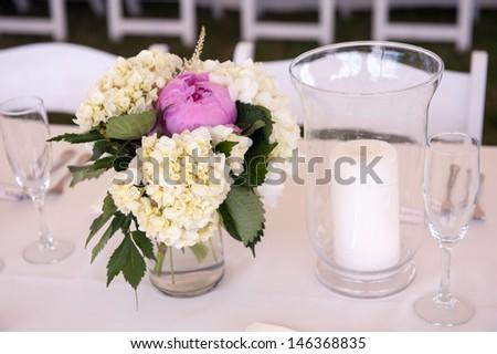 Lavender and Cream Centerpieces - stock photo