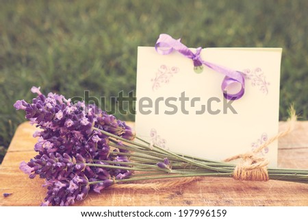 Lavender and greeting card - stock photo