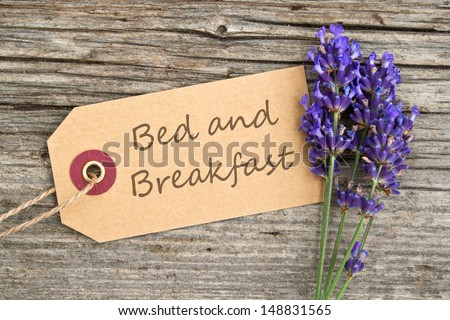lavender and label with lettering bed and breakfast/bed and breakfast/lavender - stock photo