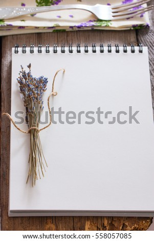 Lavender and notebook, copy space