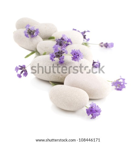 Lavender and spa stones on a white background - stock photo
