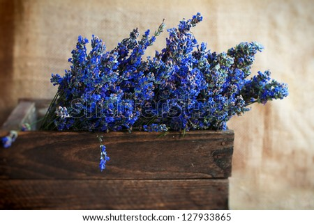 Lavender and wood. Natural cosmetics concept. Rustic background - stock photo
