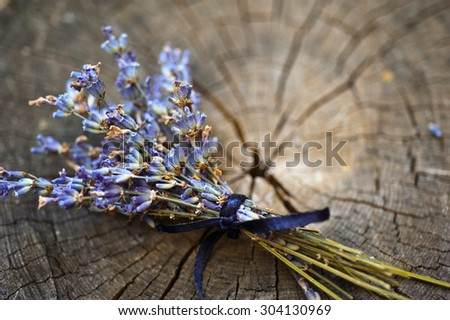 Lavender background. Lavender flower bunch on wood. Floral background. Soft focus - stock photo