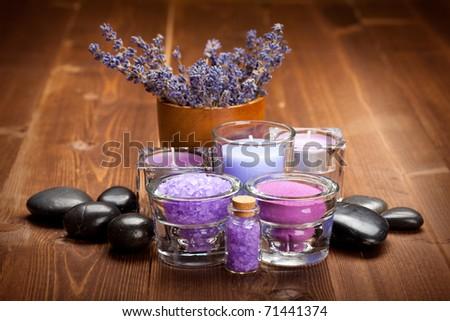 Lavender bath salt - stock photo