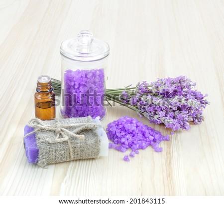 Lavender, bath salt and soap - beauty treatment. - stock photo
