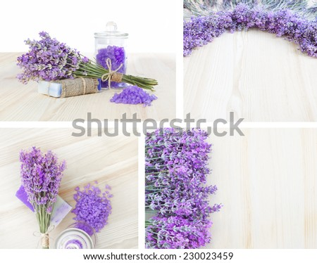 Lavender, bath salt and soap - beauty treatment in collage composition.