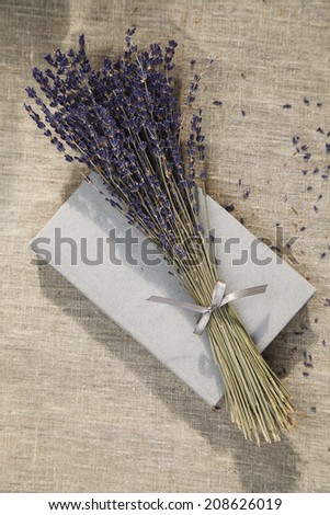 lavender bouquet on linen fabric - stock photo
