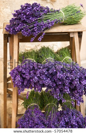 Lavender Bunches on shelf - stock photo
