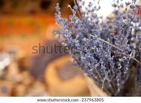 Lavender bunches selling in a outdoor market. Horizontal shot with selective focus - stock photo