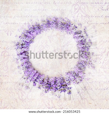 Lavender circle wreath in provence style. - stock photo