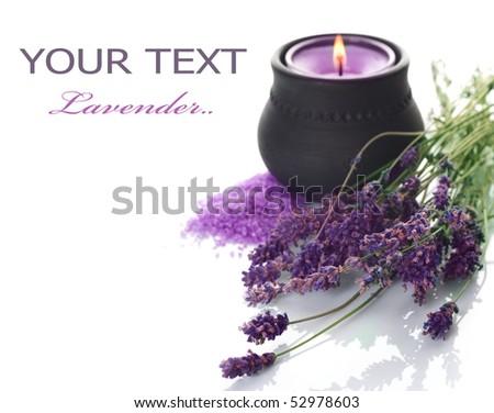 Lavender cosmetics.Spa - stock photo