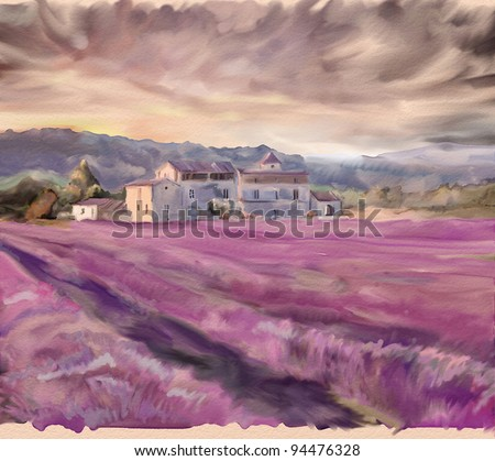 Lavender field in Provence. Watercolor painting - stock photo