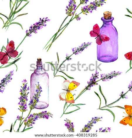 Lavender flowers, oil perfume bottles and butterflies. Repeating pattern for cosmetic, perfume, beauty design. Vintage watercolor
