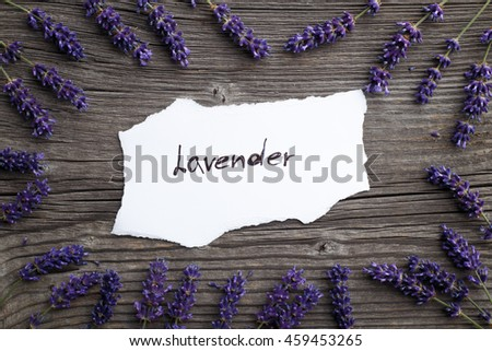 Lavender flowers on a wooden background. Floral border or frame with lavender.