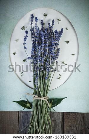 Lavender flowers on vintage background - stock photo