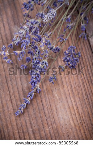 Lavender flowers over wood background.With copy-space - stock photo