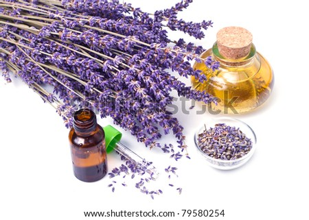 lavender flowers with oil  isolated on white background - stock photo