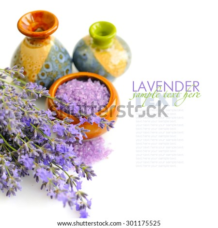 Lavender fresh and bath salt for aromatherapy on a white background - stock photo