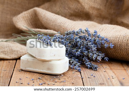 lavender handmade soap bars, on wooden background - stock photo