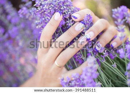 Lavender in the hands with a nice manicure - stock photo