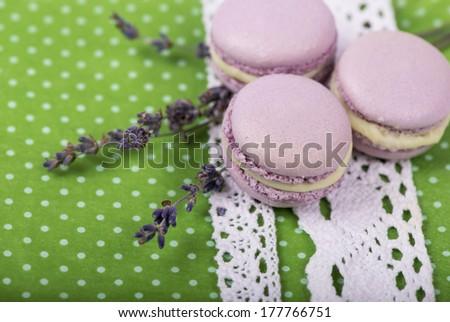 Lavender macaroons  - stock photo