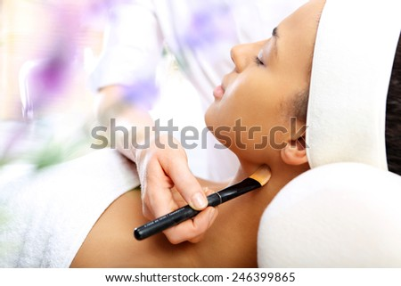 Lavender mask, aromatic moment of relaxation.Facials, beauty treatments, natural spa  - stock photo